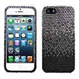 Lumii Ark 3D Bling Crystal Design Case for Apple iPhone 5 - Black Silver Waterfall