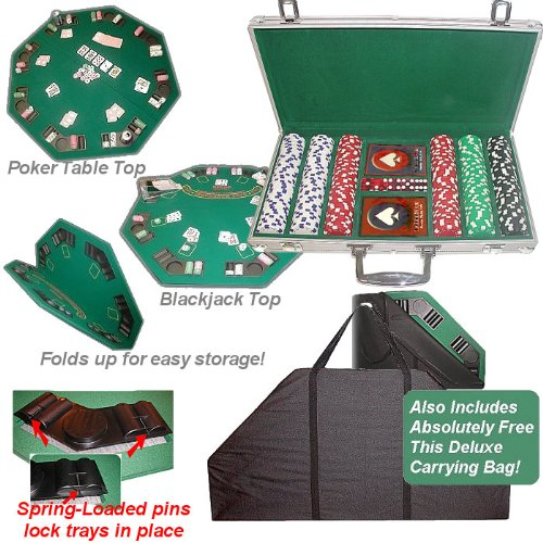 Trademark Poker 300 11.5g Dice-Striped Chips, Aluminum Case and Poker Tabletop
