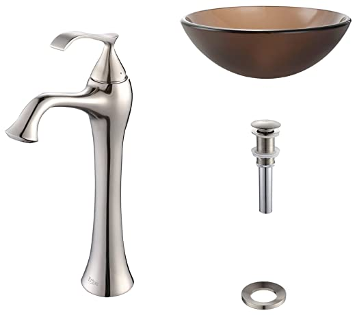 Kraus C-GV-103FR-12mm-15000BN Frosted Brown Glass Vessel Sink and Ventus Faucet Brushed Nickel