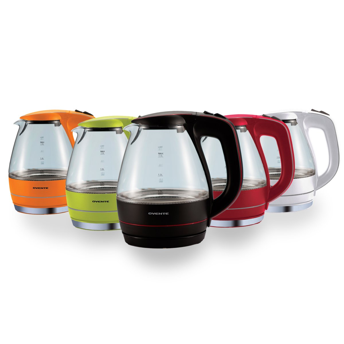 New Ovente Kg83r 1 5l Glass Electric Kettle Red Ebay