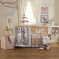 Lolli Living Sparrow Crib Set, Grey/Pink/Turquoise/White