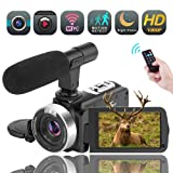 Video Camera WiFi Camcorder Digital Camera Full HD 1080P 30FPS 16X Digital Zoom Vlogging Camera with Microphone 3.00 Rotatable Touch Screen Support Remote Control Time-Lapse Photography Night Vision (Color: O1)