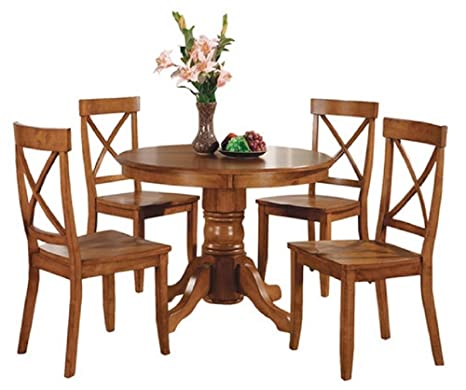 Home Styles 5 Piece Dining Set - Cottage Oak - Includes a Sturdy Pedestal Style Table and 4 Cross Back Chairs