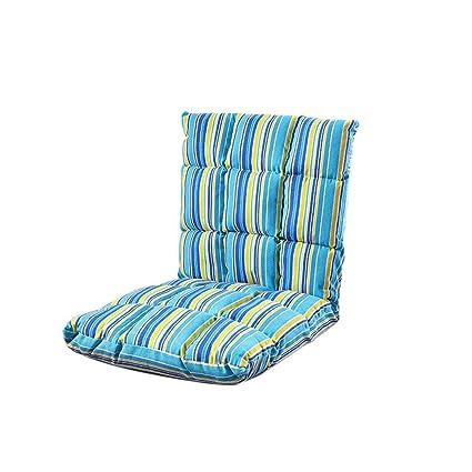 XXFFH® Leinen Falten faul Sofa Eine Person, Fußstuhle, Computer Stuhl, Falten Einzelbett, 5 Winkelverstellung, Abnehmbare Reinigung, Anwendbare Schlafzimmer Wohnzimmer Balkon schwimmende Fenster im Freien Schlafsaal , blue