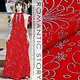 新しい孔雀赤の矢印は、低ブロンズシルクのベルベット生地の結婚式のチャイナドレスの絹織物は、桑絹の服をpleucheです