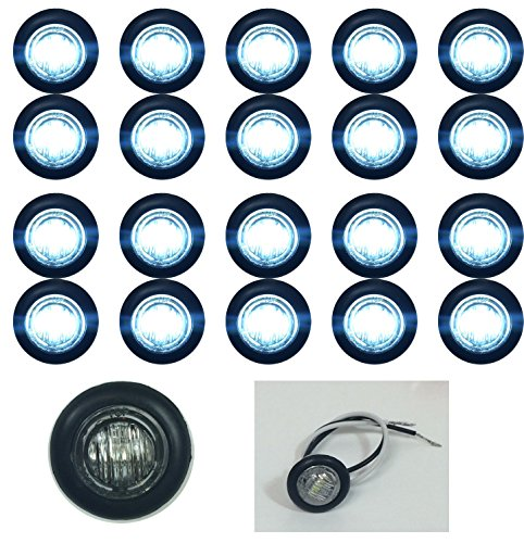 """20 New 3/4"""" Clear White Led Clearance Marker Bullet Lights W/Black Trim Ring"""