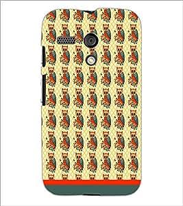 PrintDhaba Owl Pattern D-1652 Back Case Cover for MOTOROLA MOTO G (Multi-Coloured)