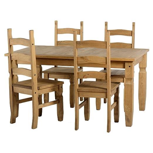 Mercer's Furniture Corona mexicaine pin ciré vieilli 5de Salle À Manger–Table et 4chaises