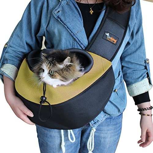 Ondoing Pet Sling Carrier Dog Cat Puppy Sling Bag Outdoor Pet Travel Bag Up to 12 lbs Yellow