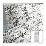 IKEA(イケア) ALVINE KVIST 150x200/50x60 cm 20172825 掛け布団カバー&枕カバー(枕カバー2枚)、ホワイト、グレー