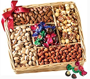 Broadway Basketeers Gourmet Sweet and Savory Nut Gift Basket for the Holidays