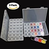 2 Pack 28 Grids Diamond Embroidery Box,Diamond Painting Accessories Small Jewelry Storage Case Box Organizer