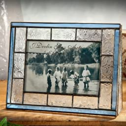 J Devlin Pic 159-46H 4x6 Horizontal Stained Glass Photo Picture Frame Clear Vintage Texture Trimmed in Pale Blue Holds 4x6 Landscape Photo