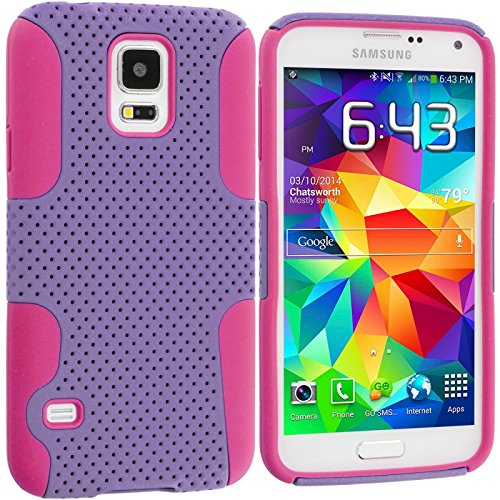 Cell Accessories For Less (Tm) Hot Pink / Purple Hybrid Mesh Hard/Soft Case Cover For Samsung Galaxy S5 - By Thetargetbuys