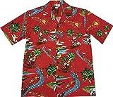 3XL Red Hawaiian VINTAGE Santa Rudolph Reindeer Christmas Aloha Shirt