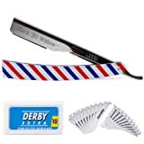 Barber Straight Razor Kit - Durable Barber Straight Edge Razor Kit with 20 Pre-cut Derby Straight Razor Blades, Straight Razor Shaving Kit (Red,White,Blue) (Color: Red,White,Blue)