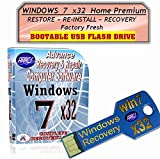 WINDOWS 7 x32 Home Premium-on USB Flash Pen Drive. Re-install Windows Factory Fresh! Easy and Quick! Full Support Included with USB Stick~GUARANTEED to WORK or YOUR MONEY BACK!