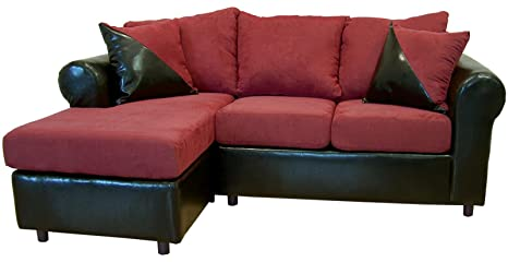 Chelsea Home Furniture Tim 2-Piece Sectional, Bulldozer Burgundy/Bicast Black