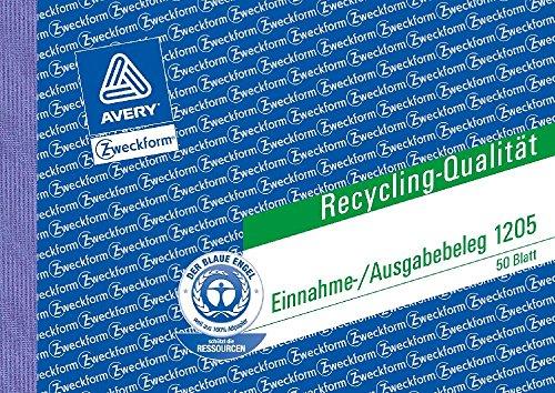 Einnahme/Ausgabebeleg, Recycling-Papier, DIN A6 quer, 50Bl. Größe A6 quer Ausführung 50 Blatt Ausführung MP(Liefermenge=3)