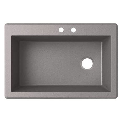 Swaoi|#Swanstone QZ03322SB.173-2 22-In X 33-In Granite Kitchen Sink 2-Hole, Metallico,