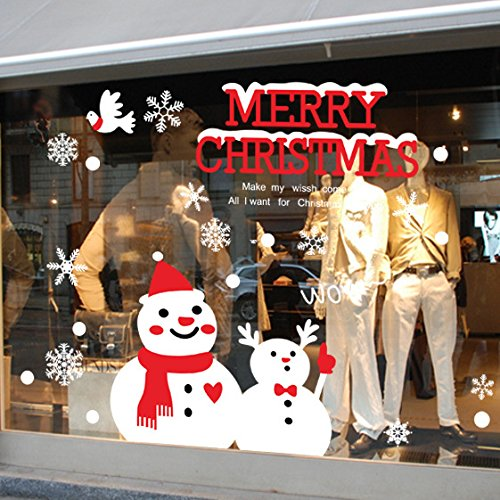 ORDERIN Art Christmas Gift Beautiful Hot Sale Decal Merry Christmas Snowman Make My Wish Come True Removable Mural Wall Stickers Art Cupboard for Christmas Shop Room Decor