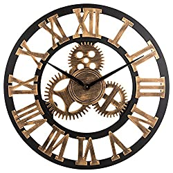 23-inch Noiseless Silent Gear Wall Clock - Extra Large Huge Handmade Oversized 3D Retro Rustic Country Decorative Luxury Art Big Wooden Vintage for House Warming Gift,(Roman Numeral,Anti-Bronze)