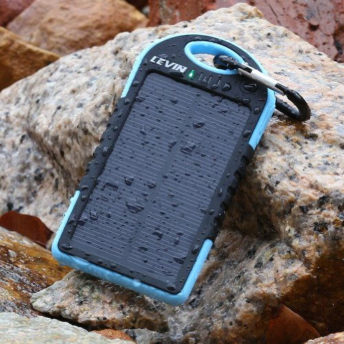 Levin™ Solstar Solar Panel Charger 6000mAh Rain-resistant and Dirt/Shockproof Dual USB Port Portable Charger Backup External Battery Power Pack for iPhone 5S 5C 5 4S 4, iPods(Apple Adapters not Included), Samsung Galaxy S5 S4, S3, S2, Note 3, Note 2, Most Kinds of Android Smart Phones,Windows phone and More Other Devices (blue)(Pls buy the authentic Branded items and turn down the knockoffs)