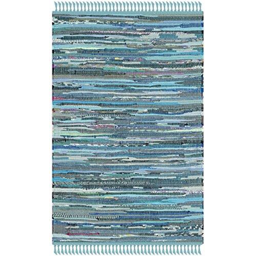 Safavieh Rag Rug Collection RAR121B Hand Woven Blue and Multi Cotton Area Rug, 2 feet by 3 feet (2' x 3')