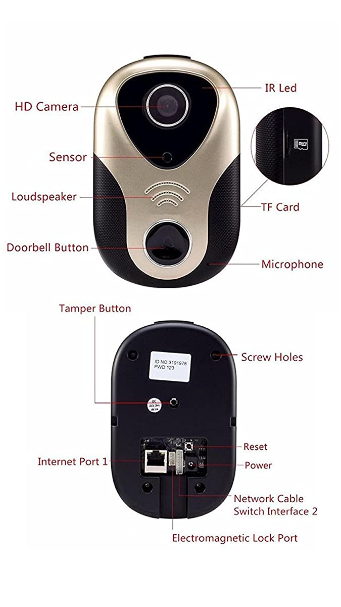 Doorbell Camera Home Security Cam WiFi Wireless Enabled Video & Audio Smart IR Night Vision, Support Tamper Alarm