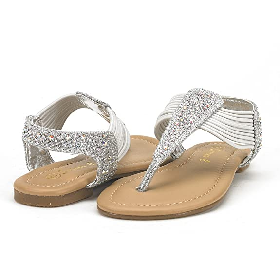 DREAM PAIRS SPARK Girls Rhinestone Sandals Jeweled Thongs T-Strap Girls Easy Slip On Elastic Band