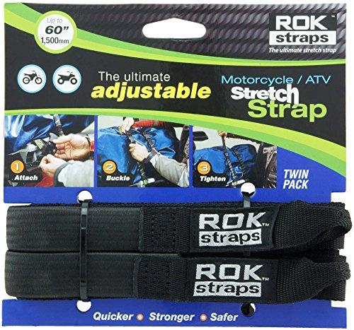 "ROK Straps ROK-10025 Black 18"" - 60"" Motorcycle/ATV Adjustable Stretch Strap"
