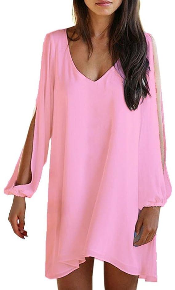 Kathlena Womens V-Neck Loose Irregular Hem Summer Chiffon Short Beach Dress