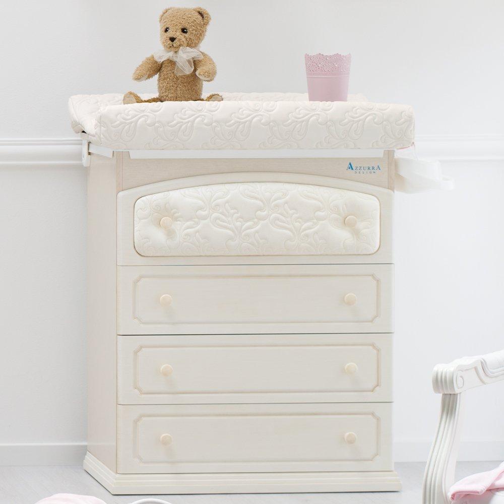 Baby Wickelkommode – besonderer Baby Wickeltisch mit abgesetzten Öko-Kunstleder – Baby Wanne und Aufsatz – 4 Schubladen Rinascimento antikweiß