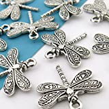 BULK 20 Antique Silver Dragonfly Charms 20 x 21mm (NS683) (Color: Silver, Tamaño: 20 mm x 21 mm)