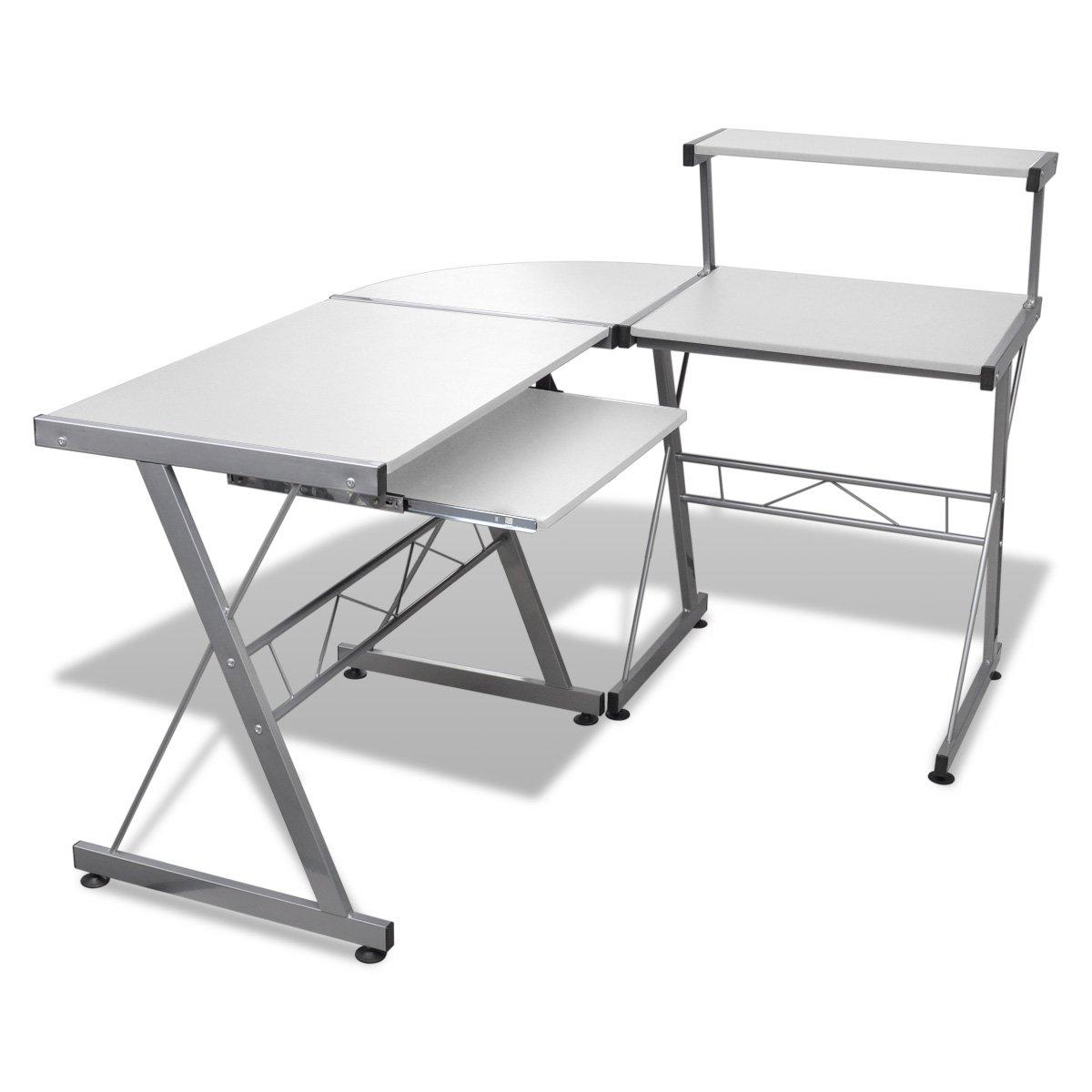 Computertisch Schreibtisch Arbeitstisch Ecktisch PC Tisch Büro weiß    Kritiken und weitere Informationen