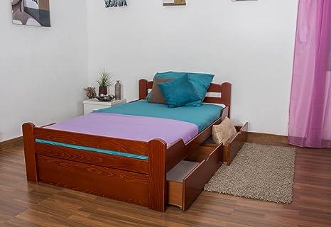 """Lit simple """"Easy Sleep®"""" K4 120x200 cm, incl. 2 tiroirs et 1 panneau de masquage bois d'hêtre massif en couleur de cerise"""