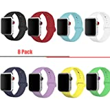 8 Pack Band for Apple Watch 38mm 42mm,Silicone Sport Strap Replacement Wristband for Apple Watch Series 3,Series 2,Series 1,Sport and Edition,Men/Women,S/M M/L Size (Apple Watch Bnad 8 Pack, 38mm) (Color: Apple Watch Bnad 8 Pack, Tamaño: 38mm)
