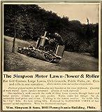 1907 Ad Wm. Simpson Motor Lawn Mower Roller Riding - Original Print Ad