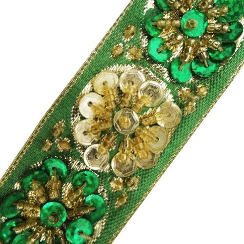 Green Beaded Trim Sequin Decorative Women Border Lace Sewing Craft India 3 Yd