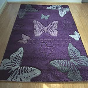 Select Butterfly Purple & Grey Modern Wilton Rugs 80x150cm