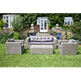 Bentley Garden - 5-teiliges Korbmöbel-Set in Rattan-Optik - Tisch/Sofa/Sessel/Hocker - Grau
