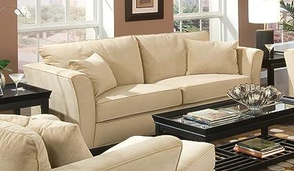 Sofa in Bella Velvet in Stone Fabric - Coaster