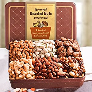 Golden State Fruit Father's Day Roasted Nuts Assortment Gift Tin, 2 Pound