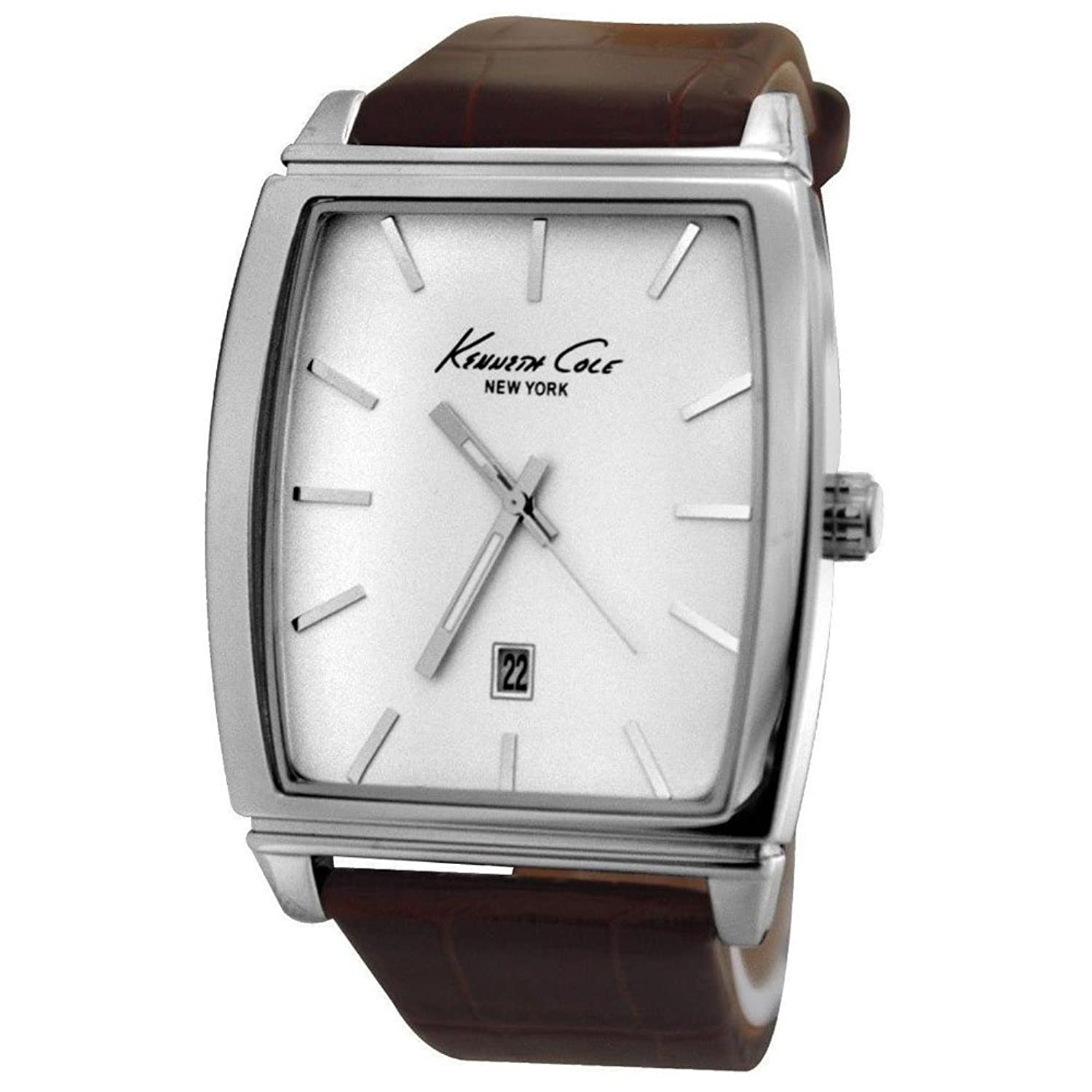 Kenneth Cole KCW1026 White Analog Date Dial Brown Leather Strap Men Watch NEW