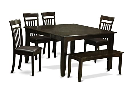 East West Furniture PFCA6-CAP-LC 6-Piece Dining Table Set, Cappuccino Finish
