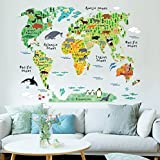 LUCKKYY World Map For Kids With Variety Animals Wall Decal Illustrated From Five Oceans