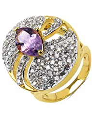 7.00 Grams Amethyst & White Cubic Zirconia Gold Plated Brass Ring