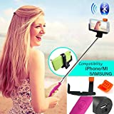 Adjustable Extendable Wireless Bluetooth Mobile Phone Remote Camera Shooting Shutter Monopod Handheld Self Portrait Selfie Stick for Iphone 4 4s, Iphone 5 5s 5c, Samsung S3 S4 S5,samsung Note 2 Note 3, HTC One M7 M8, Google Exus 4 5, Lg G2, Sony Xperia Z1 Z2 Compatible for Smart Phones with IOS 4.0 and Android 3.0 or Above System (Red-wireless Monopod)