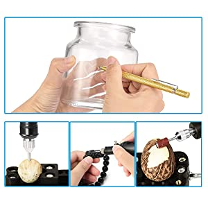 Red Electric Micro Engraver Pen Mini DIY Engraving Tool Kit for Metal Glass Ceramic Plastic Wood Jewelry with Scriber Etcher 30 Bits and 6 Polishing Head and 16 Stencils by WALANG