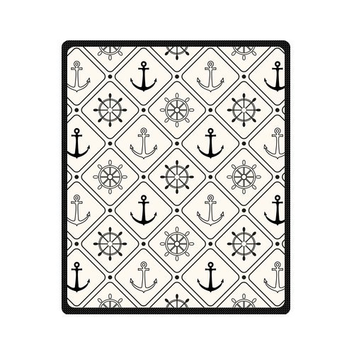 Personalized Fashion Nautical Anchor And Rudder Picture Fleece Blanket 50 X 60 back-994164